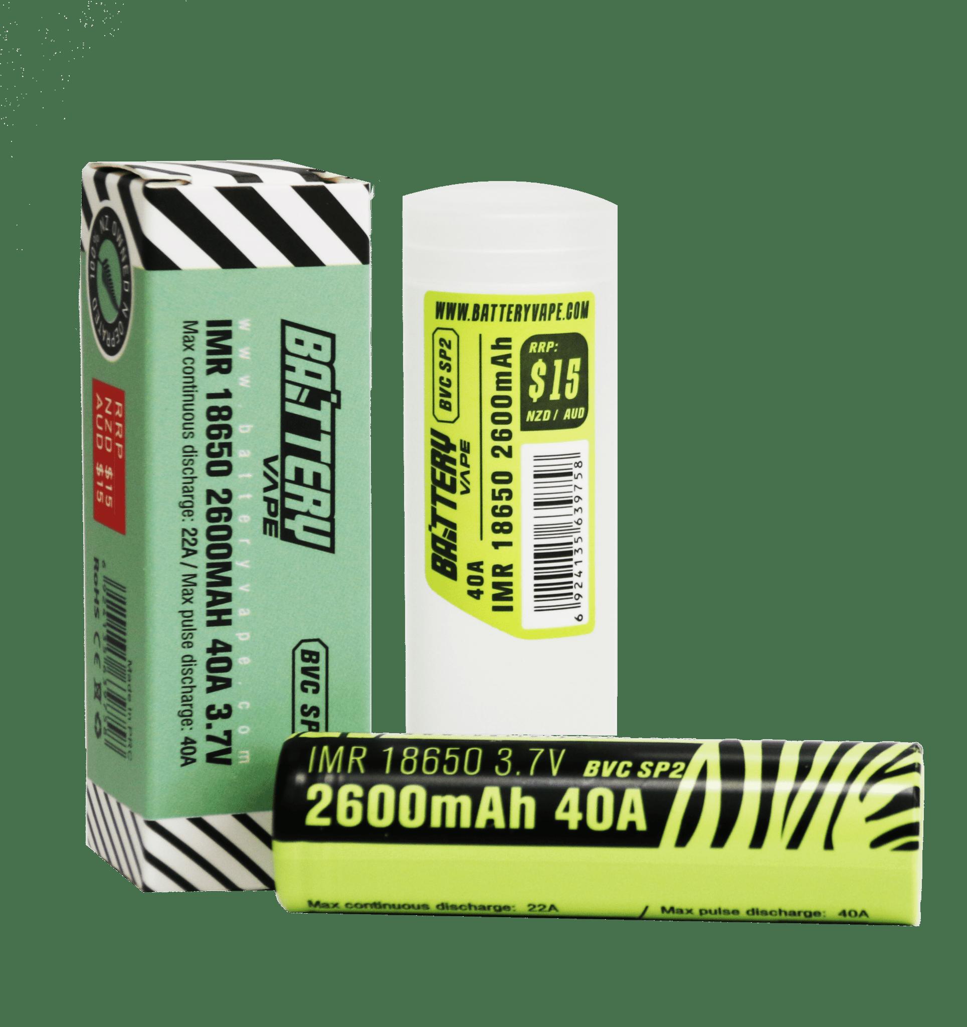 BV 18650 Battery 2600mAH 40A 3.7V retail box